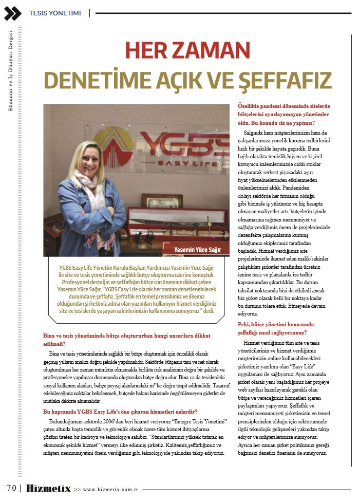 YGBS, hizmetix dergi röportajı